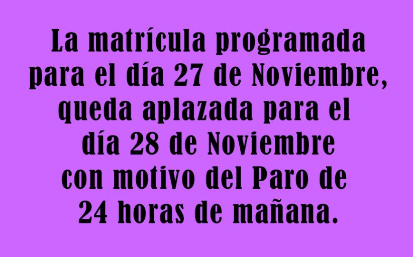 Matrículas CLEI y estudiantes de 1 y 2 asignaturas para el 28 de Noviembre de 2019.