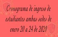 CRONOGRAMA DE INGRESO DE ESTUDIANTES 2020