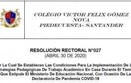 Resolución Rectoral No. 027 Abril 30 de 2020-Estrategias Pedagógicas De Trabajo Académico En Casa Durante El Tiempo de Pandemia