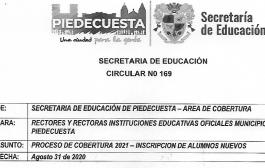 PROCESO DE COBERTURA 2021 - INSCRIPCION DE ALUMNOS NUEVOS SEPTIEMBRE 1 A 30 DE 2020.
