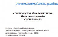ACTIVIDADES DE FINALIZACIÓN AÑO ESCOLAR 2020