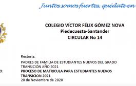 PROCESO DE MATRICULA PARA ESTUDIANTES NUEVOS TRANSICION 2021-Noviembre 4 a Diciembre 9 de 2020