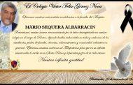 Condolencias de toda la comunidad educativa por el fallecimiento del profesor Mario Sequera Albarracín