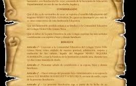 Homenaje póstumo al Magíster MARIO SEQUERA ALBARRACÍN