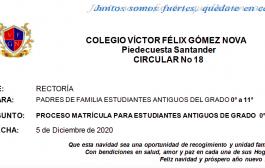 PROCESO DE MATRICULAS DE ESTUDIANTES ANTIGUOS GRADO CERO A UNDÉCIMO Y CON DOBLE REPITENCIA–DICIEMBRE 9 a 16 DE 2020