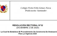 RESOLUCIÓN RECTORAL N°52-DICIEMBRE 2 DE 2020-CEREMONIA DE GRADUACIÓN