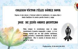 CONDOLENCIAS POR EL FALLECIMIENTO DEL DOCENTE JOSE DE JESÚS ORDUZ QUINTERO