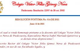 RESOLUCIÓN PÓSTUMA No. 014 DE 2021