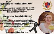 CONDOLENCIAS POR EL FALLECIMIENTO DE LA DOCENTE MARÍA ISABEL HURTADO GUTIÉRREZ
