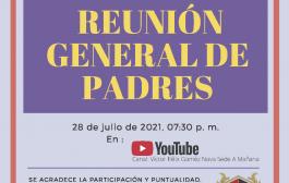 Invitación Reunión General de Padres Julio 28-7:30 pm